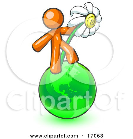 Orange Man Standing On The Green Planet Earth And Holding A White Daisy, Symbolizing Organics And Going Green For A Healthy Environment Clipart Illustration by Leo Blanchette