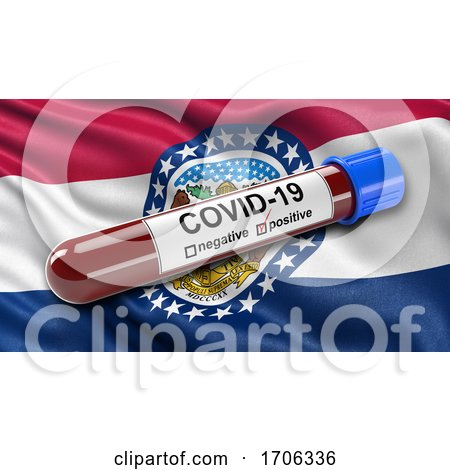 US State Flag of Missouri Waving in the Wind with a Positive Covid 19 Blood Test Tube by stockillustrations