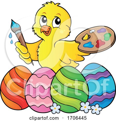 Easter Chick Painting Eggs Posters, Art Prints