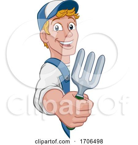 Gardener Garden Fork Tool Handyman Cartoon Man Posters, Art Prints