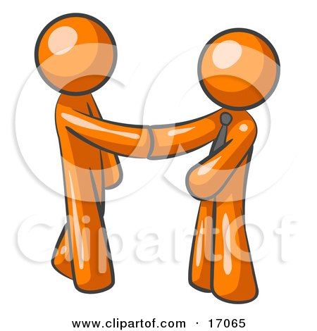 Orange Man Wearing A Tie, Shaking Hands With Another Upon Agreement Of A Business Deal Clipart Illustration by Leo Blanchette