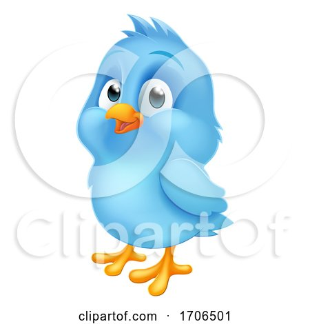 Blue Bluebird Baby Bird Cartoon Mascot Posters, Art Prints