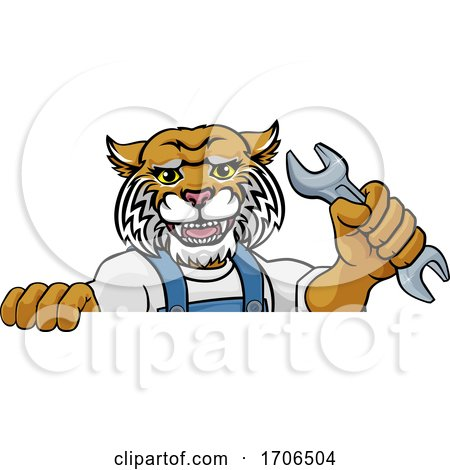 Wildcat Plumber or Mechanic Holding Spanner Posters, Art Prints