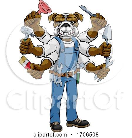 Bulldog Multitasking Handyman Holding Tools by AtStockIllustration