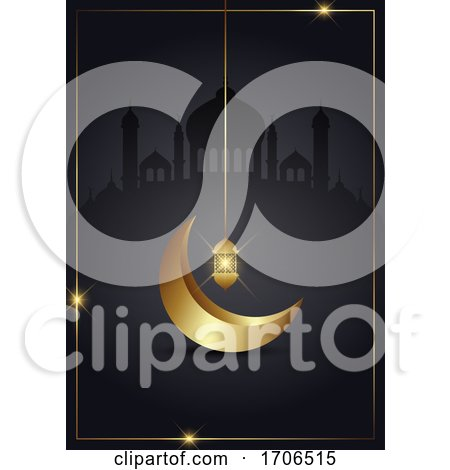 Ramadan Kareem Background with Gold Crescent and Lantern by KJ Pargeter