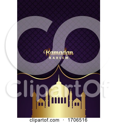 Ramadan Kareem Background with Gold Mosque Silhouettes by KJ Pargeter