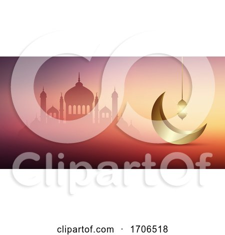 Ramadan Kareem Banner Design with Mosques and Gold Crescent by KJ Pargeter
