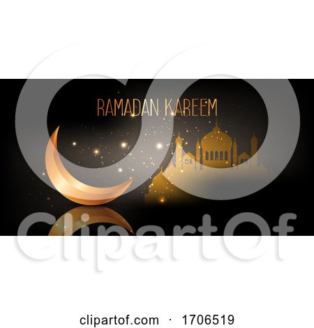 Ramadan Kareem Banner with Crescent and Mosque Design by KJ Pargeter