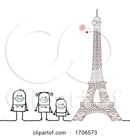 Stick Family Wearing Covid 19 Face Masks by the Eiffel Tower by NL shop