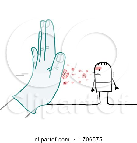 Stick Man Wearing and Gloved Hand Stopping the Covid Virus by NL shop