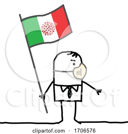 Stick Man Wearing a Covid Face Mask and Holding an Italian Flag by NL shop