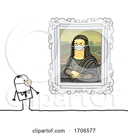 Stick Man Wearing a Covid Face Mask and Looking at Mona Lisa Wearing One Too Posters, Art Prints
