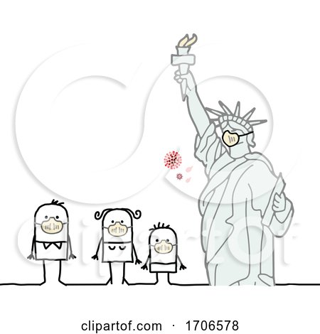 Stick Family Wearing Covid 19 Face Masks by the Statue of Liberty by NL shop