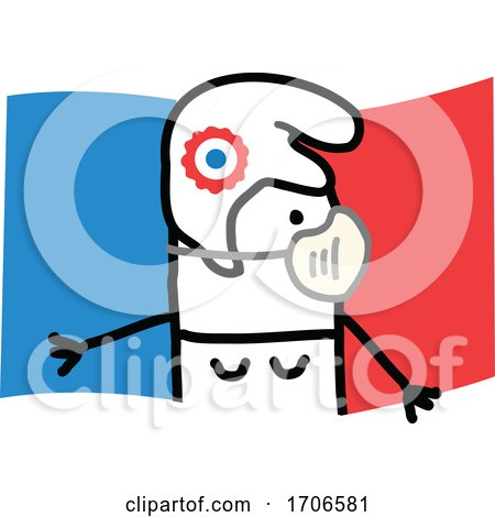 Stick Woman Wearing a Covid Face Mask over a French Flag by NL shop