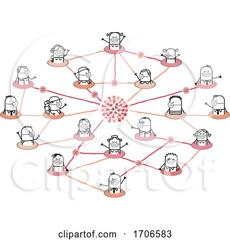 Stick People Wearing Covid Face Masks in a Network by NL shop