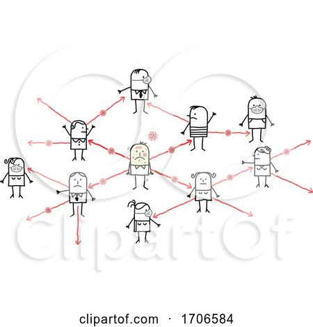 Stick People Showing a Network of Infection by NL shop