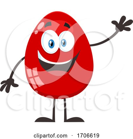 Red Easter Egg Mascot Waving Posters, Art Prints