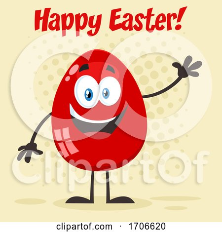 Red Egg Mascot Waving Under Happy Easter Text Posters, Art Prints