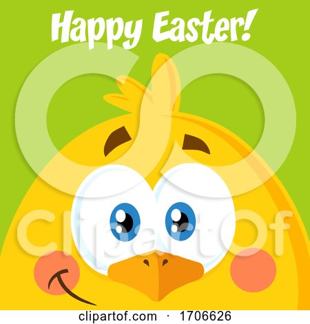 Yellow Chick with Happy Easter Text Posters, Art Prints