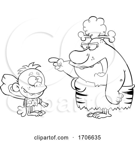 Cartoon Black and White Cave Woman Teaching Her Son About a Club by Hit Toon