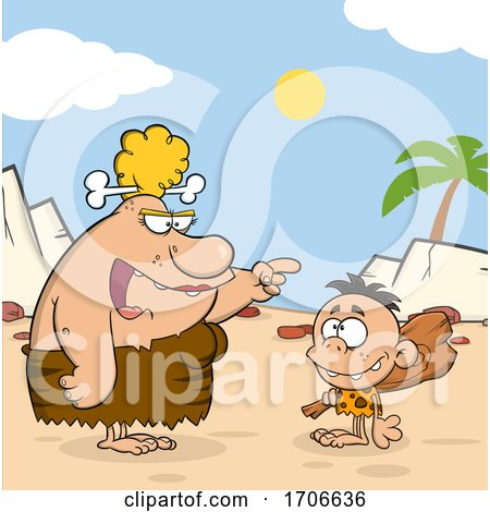 Cartoon Cave Woman Teaching Her Son About a Club by Hit Toon