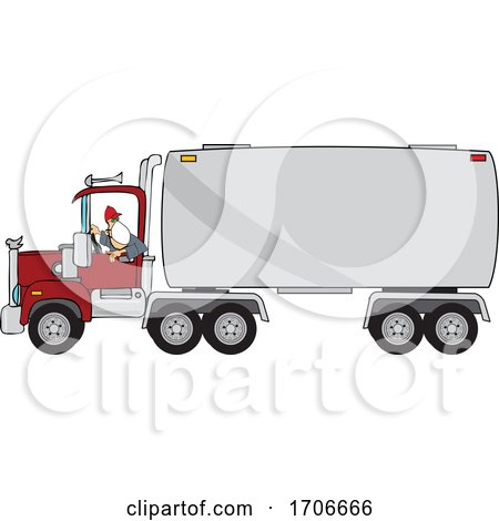 Cartoon Male Trucker Wearing a Mask and Backing up a Truck by djart