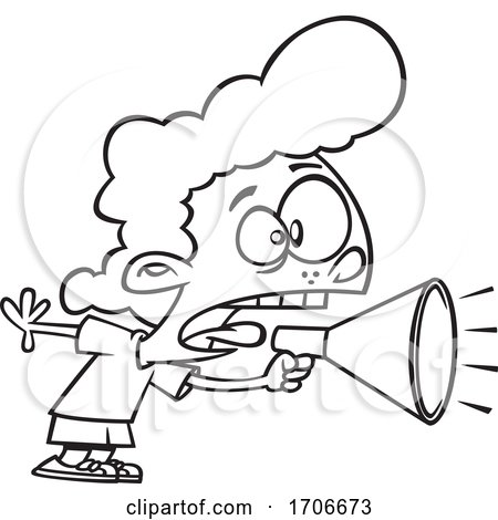 Cartoon Girl Screaming Through a Megaphone by toonaday