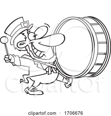 Cartoon Leprechaun Playing a Marching Drum by toonaday
