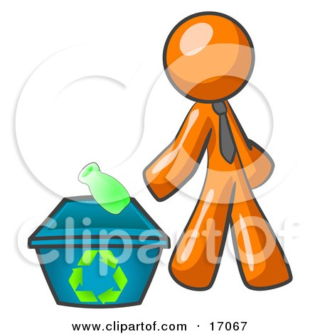 Orange Man Tossing A Plastic Container Into A Recycle Bin, Symbolizing Someone Doing Their Part To Help The Environment And To Be Earth Friendly Clipart Illustration by Leo Blanchette