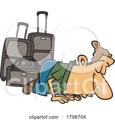 Cartoon Male Traveler Kissing the Ground by toonaday