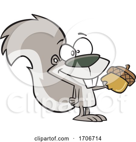 Cartoon Squirrel Giving an Acorn by toonaday