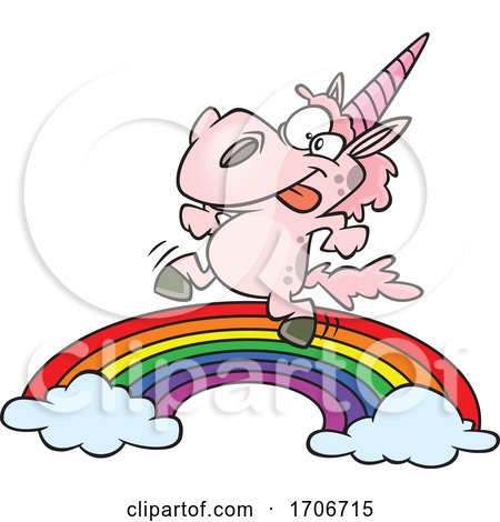 Cartoon Pink Unicorn Dancing on a Rainbow by toonaday
