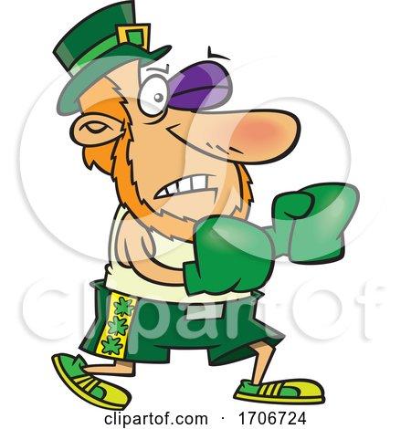Cartoon Leprechaun Fighting Irish by toonaday