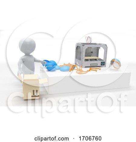 3d Morph Man with 3d Printer by KJ Pargeter