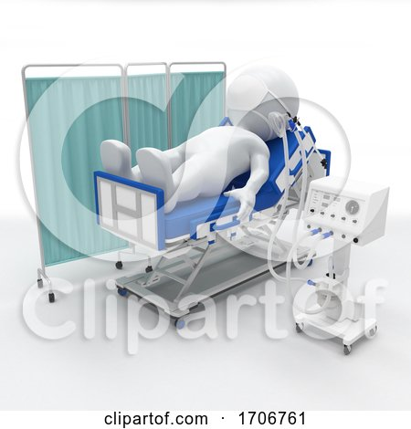 3D Morph Man on Hospital Bed with Respirator by KJ Pargeter