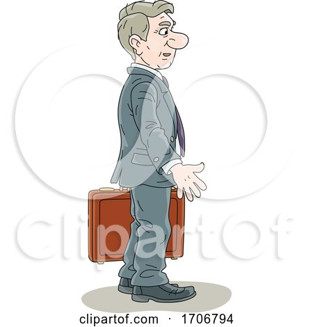 Cartoon Business Man Carrying a Briefcase by Alex Bannykh