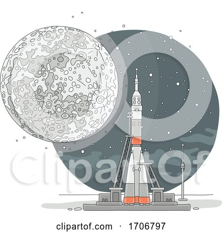 Rocket Ready for Launch and Moon by Alex Bannykh