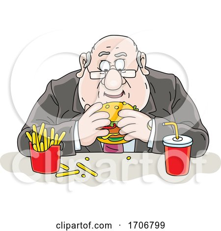 Cartoon Fat Politician Eating a Burger by Alex Bannykh