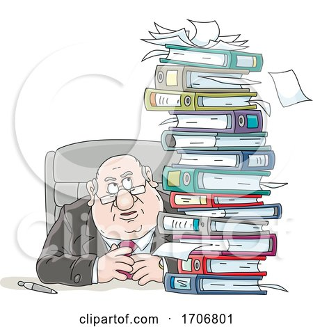 Cartoon Fat Politician with a Stack of Binders by Alex Bannykh