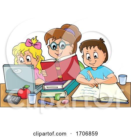 Mother Home Schooling Her Children Posters, Art Prints