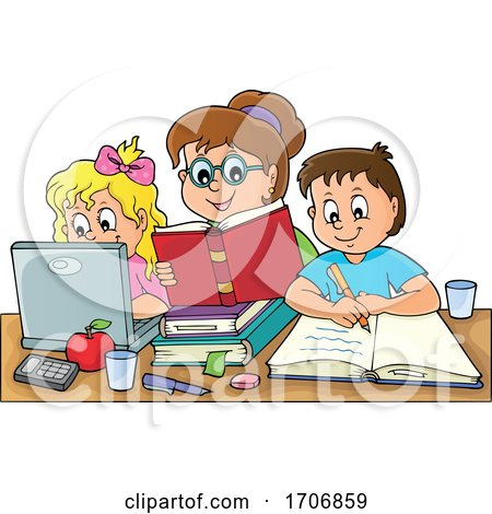 Mother Home Schooling Her Children by visekart