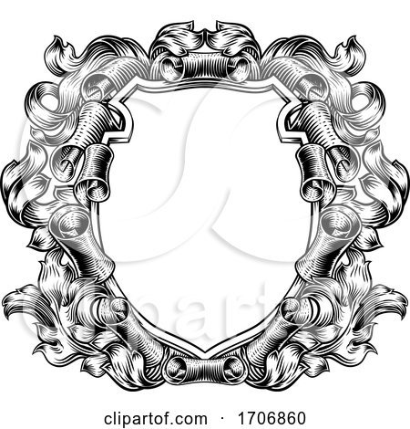 Coat of Arms Crest Scroll Leaves Heraldic Shield by AtStockIllustration