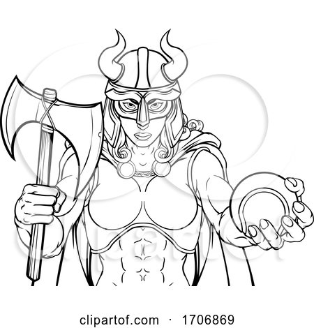 Viking Female Gladiator Tennis Warrior Woman by AtStockIllustration