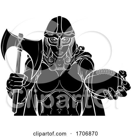 Viking Trojan Celtic Knight Football Warrior Woman by AtStockIllustration