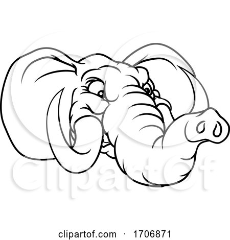 Angry Elephant Cartoon Animal Sports Mascot by AtStockIllustration