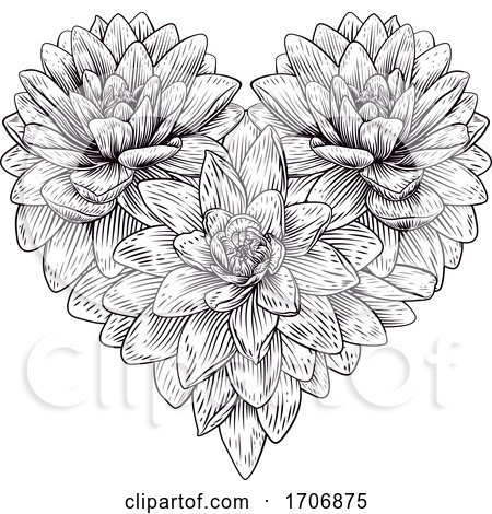 Heart Flower Love Floral Engraved Etching Posters, Art Prints