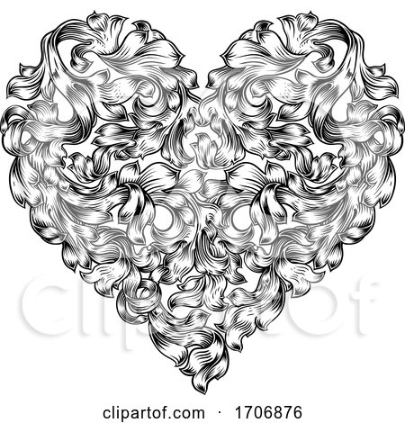 Heart Love Floral Woodcut Vintage Etching Posters, Art Prints