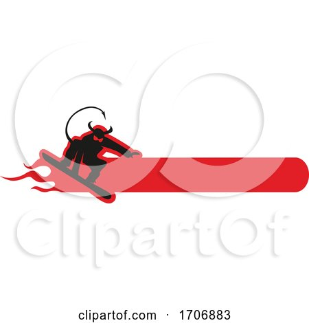 Black and Red Snowboarding Devil and Text Space by Domenico Condello
