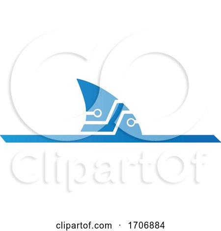 Abstract Blue Technical Shark Fin by Domenico Condello