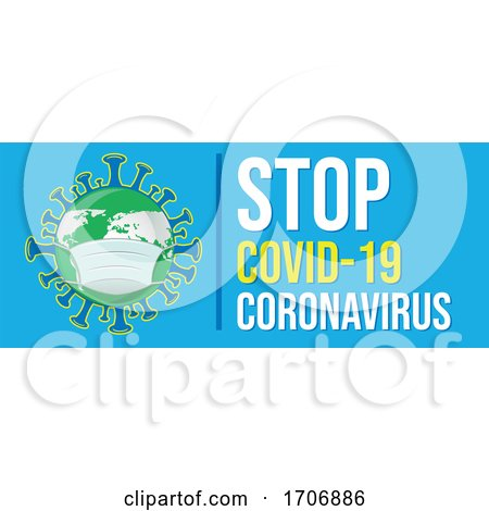 Coronavirus Earth Wearing a Mask with Stop Text on Blue by Domenico Condello